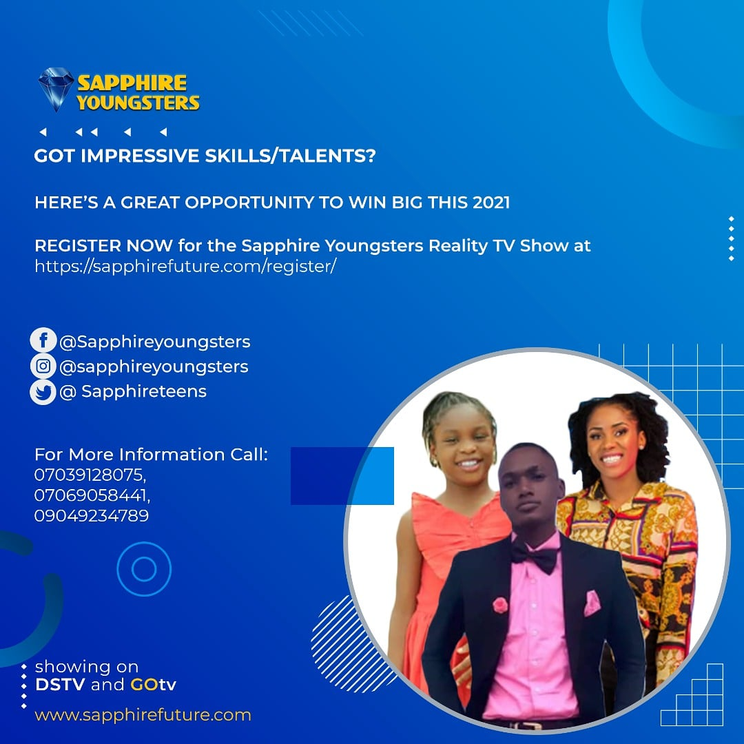 Sapphire Youngsters Reality TV show is Calling all Young Children and Teenagers from age 12-18 to showcase their Unique Talents to our Global Audience.  Register:   #amazing #follo4folloback #register #followforfollow #Tuesday #goals