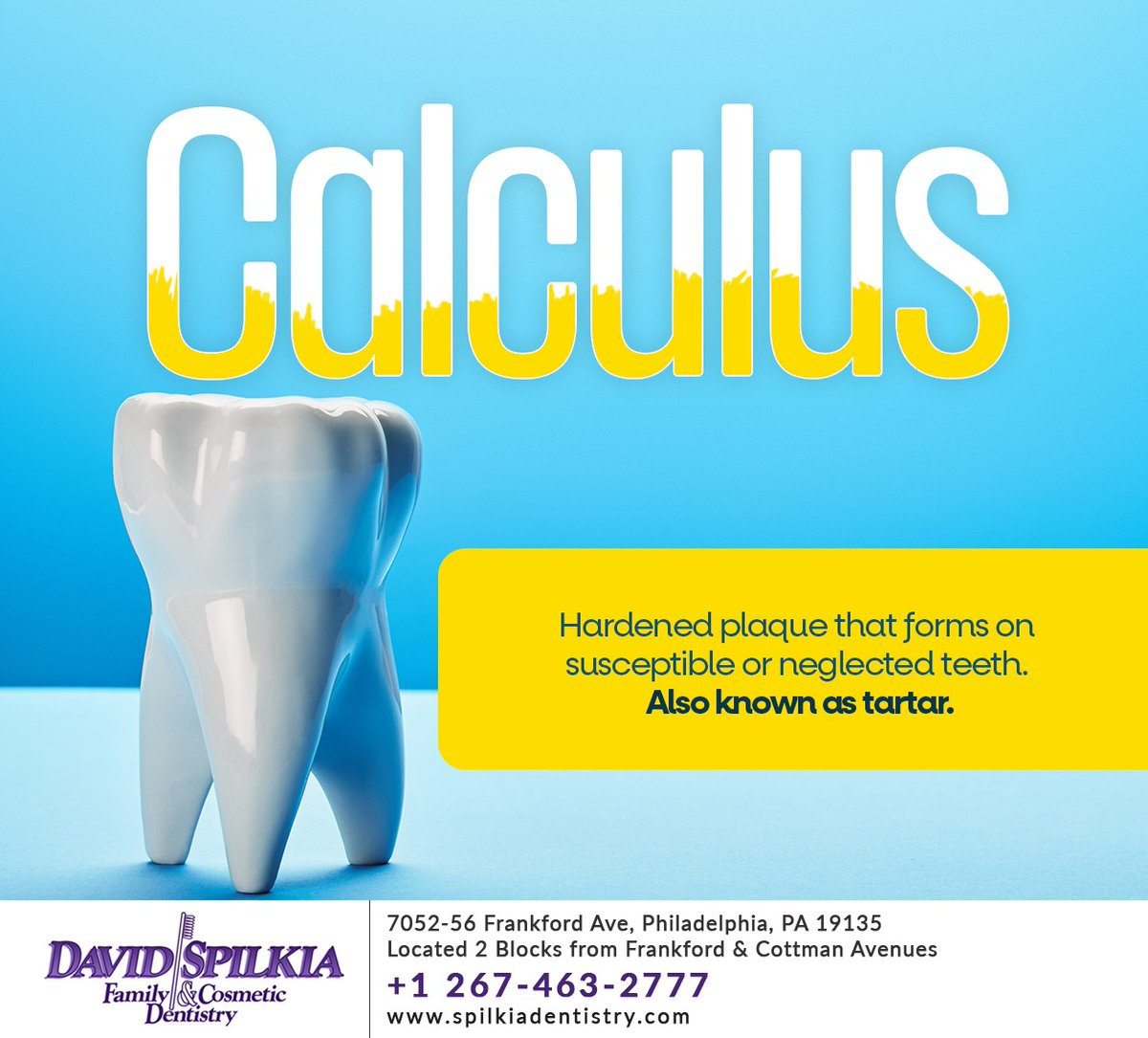 #Calculus is the hardened plaque that the dentist or hygienist scrapes off your teeth during a dental cleaning. It can lead to cavities if not removed. Schedule a cleaning today at  #dentalcleaning #philadelphia #PA #spilkiadentistry