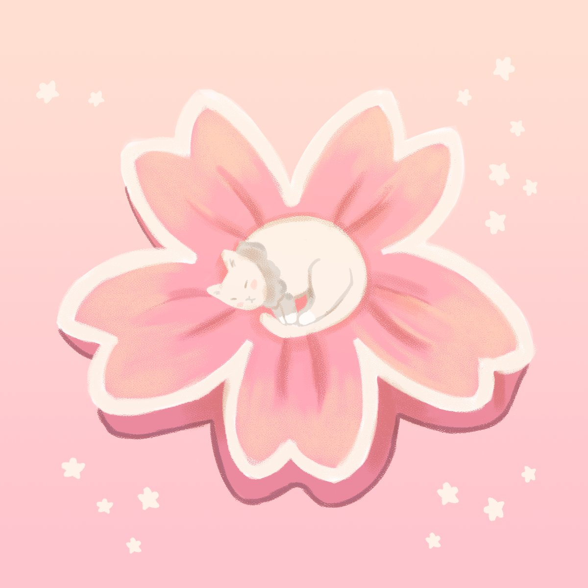 Cherry Blossom Cat 🌸 #01  #art #animal #illustration #digitalart #food #desserts #cat #design #digiart #digitalillustration #artwork #anime #cute #kawaiiart #impressionism #pastel #pastelart #keychain #stationary