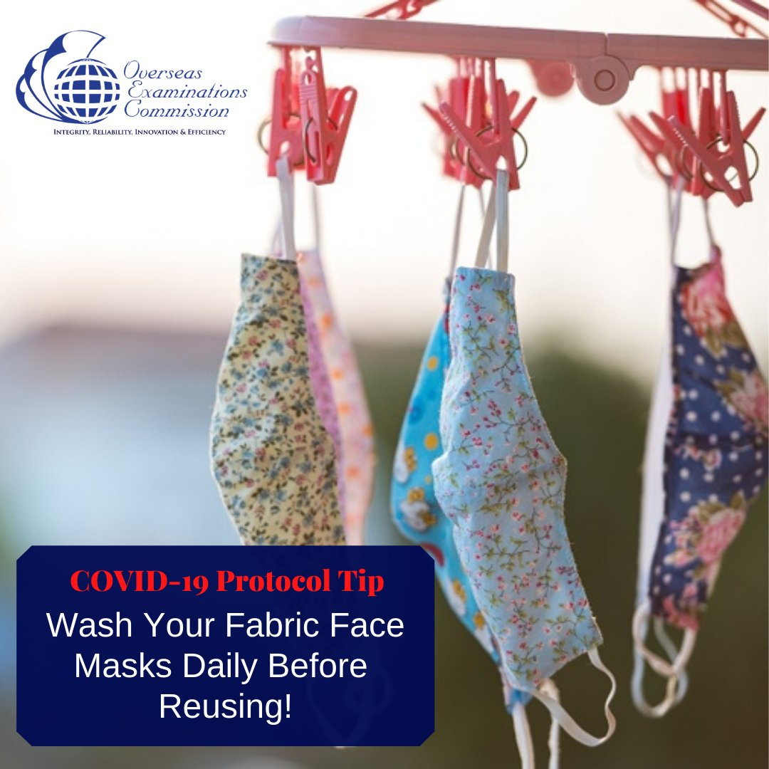 If you wear fabric face masks, remember to wash them daily and allow it to air dry properly before re use. #StayProtected  #ExaminationsHub #OEC #Jamaica #CoVid19Protocols