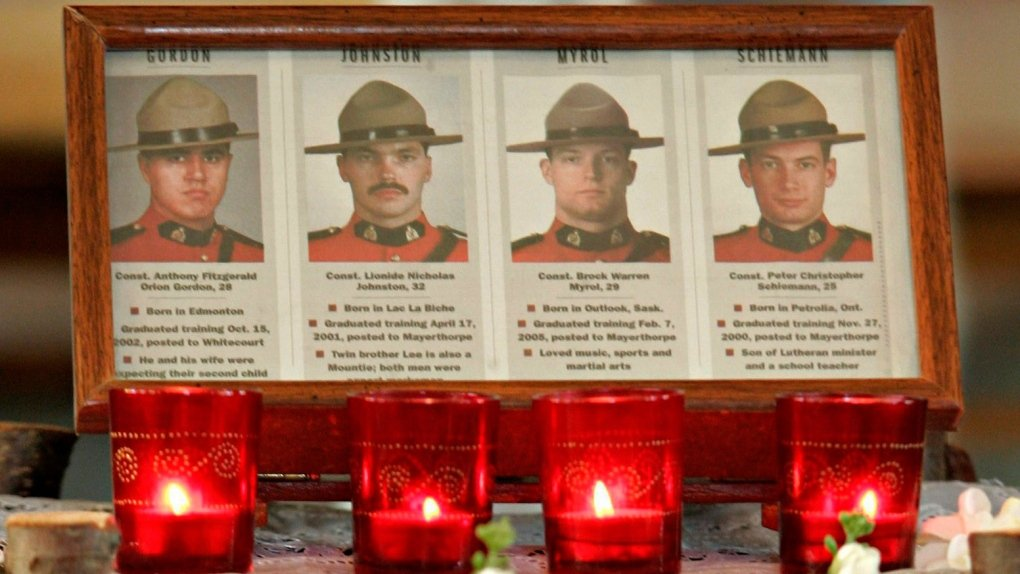 16 years ago today 4 #RCMP officers were murdered while doing their job.  Their deaths saved lives.  Please take a moment to #remember them.  #Heros all of them #MayerthorpeTragedy #NeverForget  #ThinBlueLine