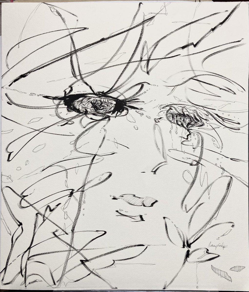2021/03/03 F10size #crazy #clock #emotional #flowers #hope #tear #silent #energie #naturel #illustration #art #abstractart #pen #drawing #bright #wave #blackandwhite  #抽象画 #ペン画 #アート #ドローイング #絵描きさんと繋がりたい #芸術の輪
