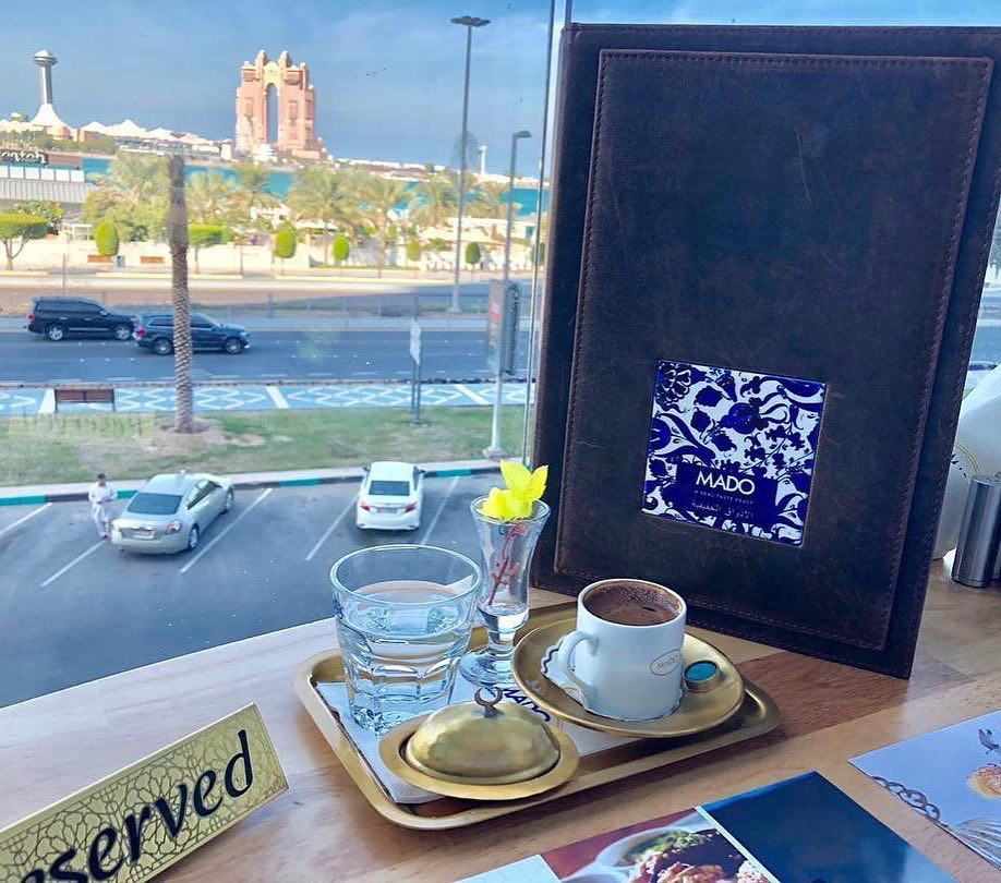 Who Is Up For Some Coffee With A View?💙💙💙 — Fine Turkish Cuisine With An Exclusive Corniche View! — #mado #madouae #madoabudhabi #turkish #coffeewithaview #seaview #breakfast #inabudhabi #nationtowers #exclusivenation
