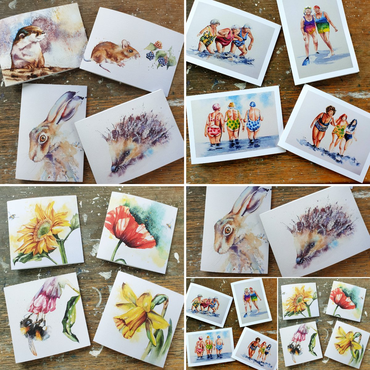 I am very excited today, brand new cards (some unseen designs) now available on my website   #watercolours #cards #wildlife #originalart #flowers #bees #Britishwildlife #artcards #hares #hedgehogs #watercolourpainting #devon #painting #bumblebees #art