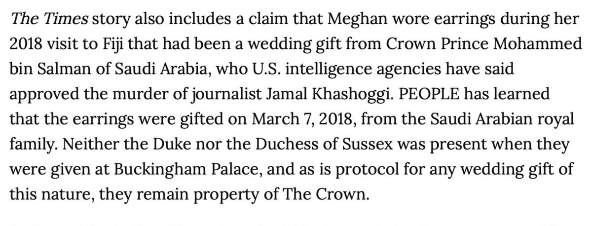 Did you read the thread by @DuchessCofC? You should. It explains a lot! Earrings worn by #Meghan is #propertyofthecrown. Who loaned those earrings to her? Exactly! Total set up! #istandwithMeghan #HarryandMeghanonOprah #PrinceHarry #MajorWales #staymad