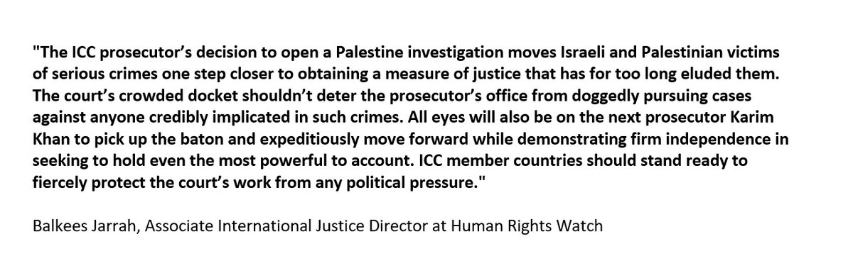 "Breaking: @IntlCrimCourt has opened formal investigation into the situation in Palestine. @hrw on why the decision moves ""Israeli & Palestinian victims of serious crimes one step closer to maintaining a measure of justice that has for too long eluded them"""