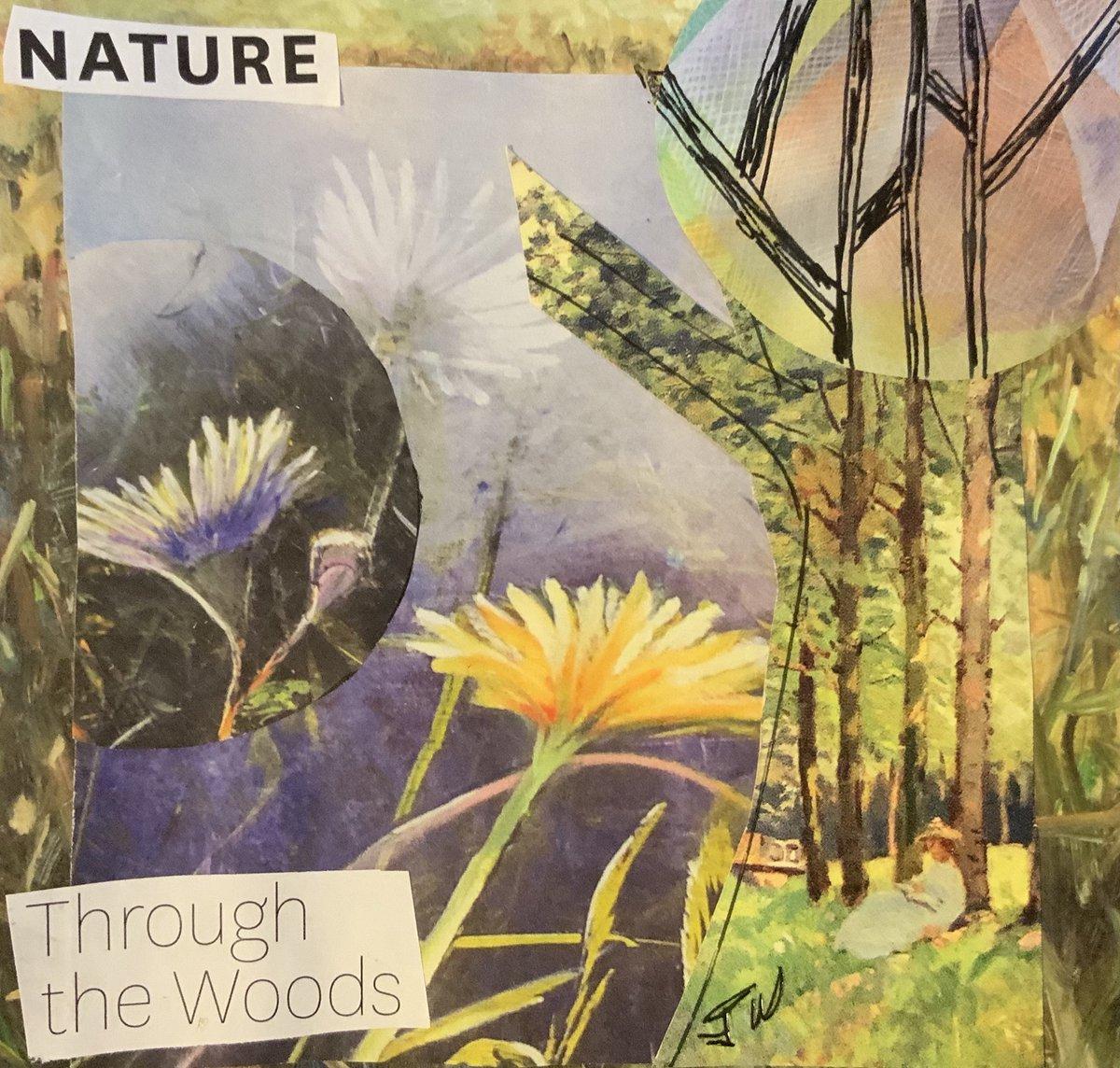Tree a Day #treeaday #tree #treeart #treelove #art #collage #recyclemagazine #nature #throughthewoods #garden #flowers #seriesart #smallart #paperart #wednesdayart #abstractlandscape #greens #janicewilliamsart