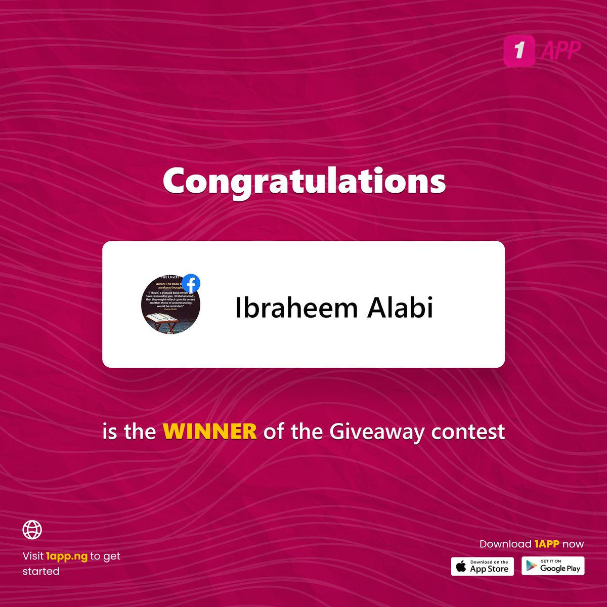Congratulations to Ibraheem Alabi on winning the 26th of February Giveway Contest!  #1app #1appng #1apponline #easylifeishere #giveaway #wednesdaymotivation #winner #Congratulations #1appnews #1appinvest