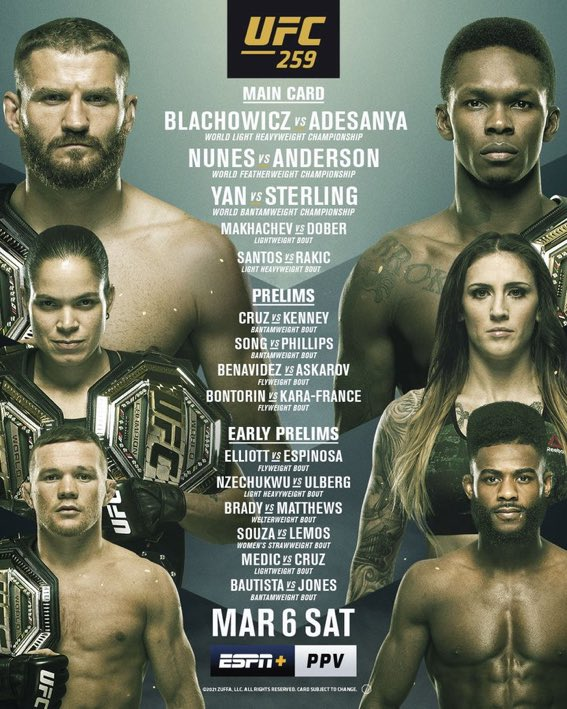 Here's your #UFC259 card in full.   Unquestionably, one of the best cards we've seen in a long time.💥  #UFC   #MMA