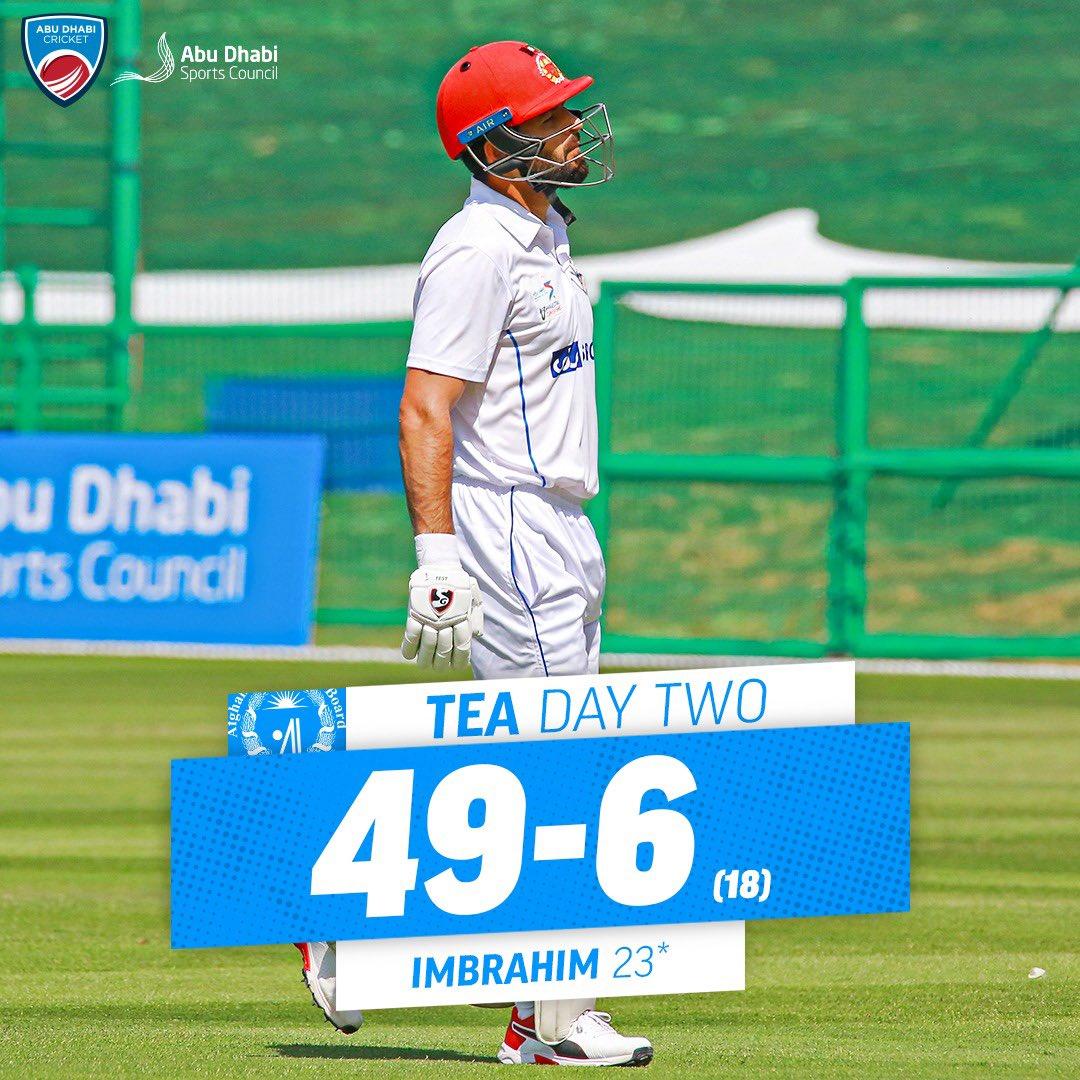 What a session for @ZimCricketv! 🤩☀️  @ACBofficials are now 4️⃣9️⃣-6️⃣ at tea on Day 2️⃣ of the opening Abu Dhabi Sunshine Series Test Match 🏏  #AFGvZIM #AbuDhabiSunshineSeries #InAbuDhabi