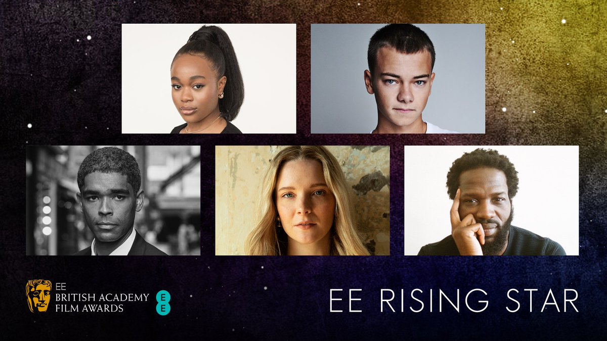 It's official! Meet the all-British lineup of nominees for the 2021 @EE Rising Star Award:    ⭐Bukky Bakray ⭐Conrad Khan ⭐Kingsley Ben-Adir ⭐Morfydd Clark ⭐Ṣọpẹ́ Dìrísù  Find out more:  #EEBAFTAs