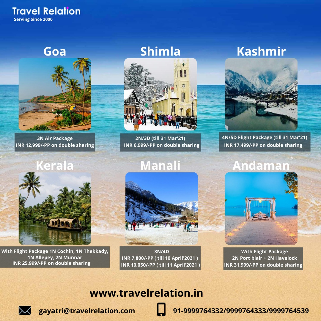 Beat the heat with chilling holiday. For booking contact below: WhatsApp:-  Mob:- 9999764332 Email:- gayatri@travelrelation.com #travelrelation #Goatourism #shimlatourism #kashmirtourism #keralatourism #manalitourism #andamantourism   #traveltheworld