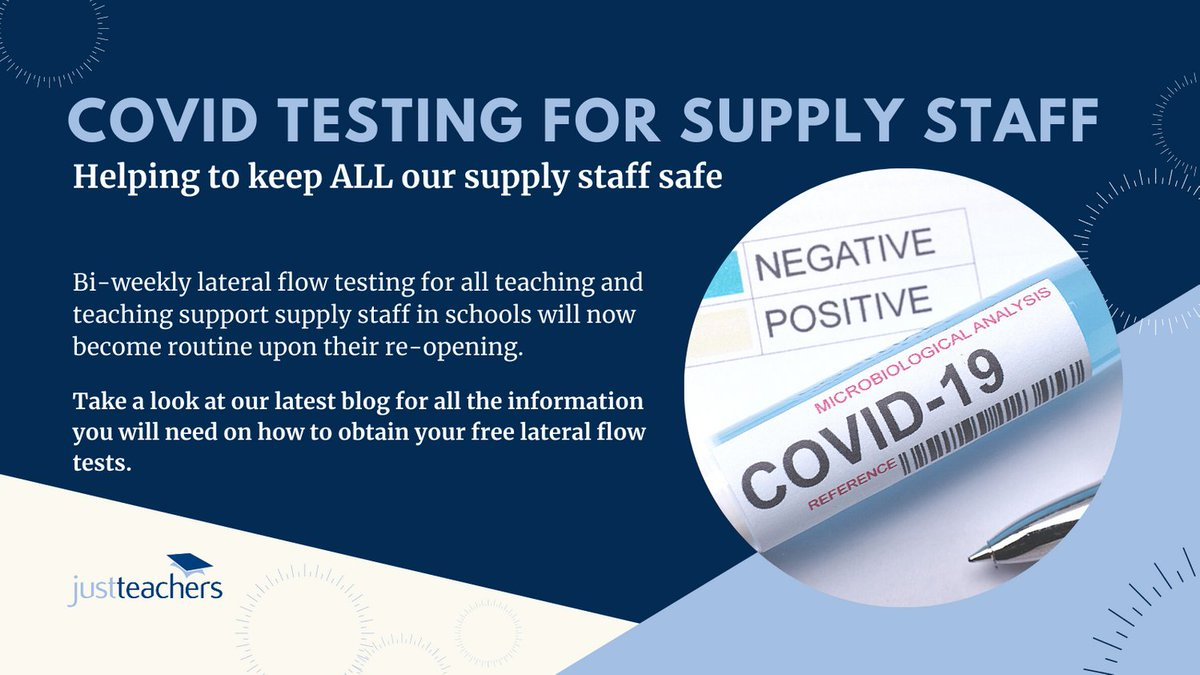 test Twitter Media - Justteachers strongly encourage our teaching & support staff to participate in lateral flow tests. Our latest blog shares all available routes to obtain free tests: https://t.co/rLfNUlqDqL https://t.co/zO7xsArbxh