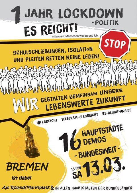 ES REICHT UNS ! - 16 Demos in 16 Hauptstädten bundesweit am 13.03.21