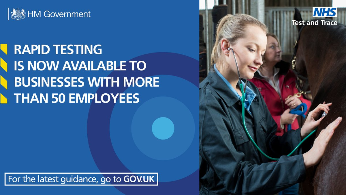 Vet businesses: free workplace testing is available for companies with 50+ employees until 30 June  It helps identify #COVID19 in people with no symptoms, preventing those who can't work from home from unknowingly passing it on  Sign up by 31 March: https://t.co/9TJ4P2lz2C https://t.co/8EMs3uF4ZP