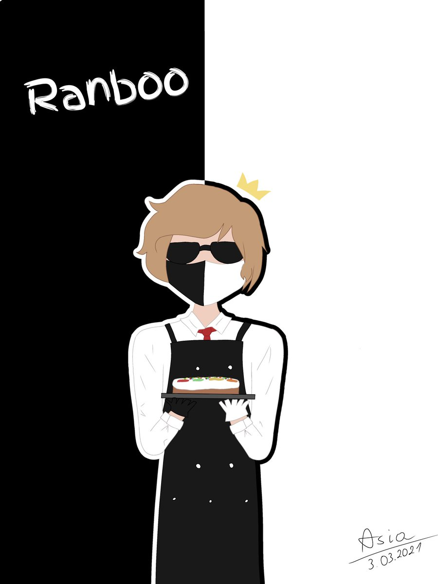 This time drawing from my tablet. Still looks bad...  Ranboo and his cake from last friday c:  Sorry forbad english. I'm too stupid for this language.  #ranboofanart
