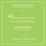 [CALENDAR] #DailyMotivation from Nicholas Sparks. #HPU365