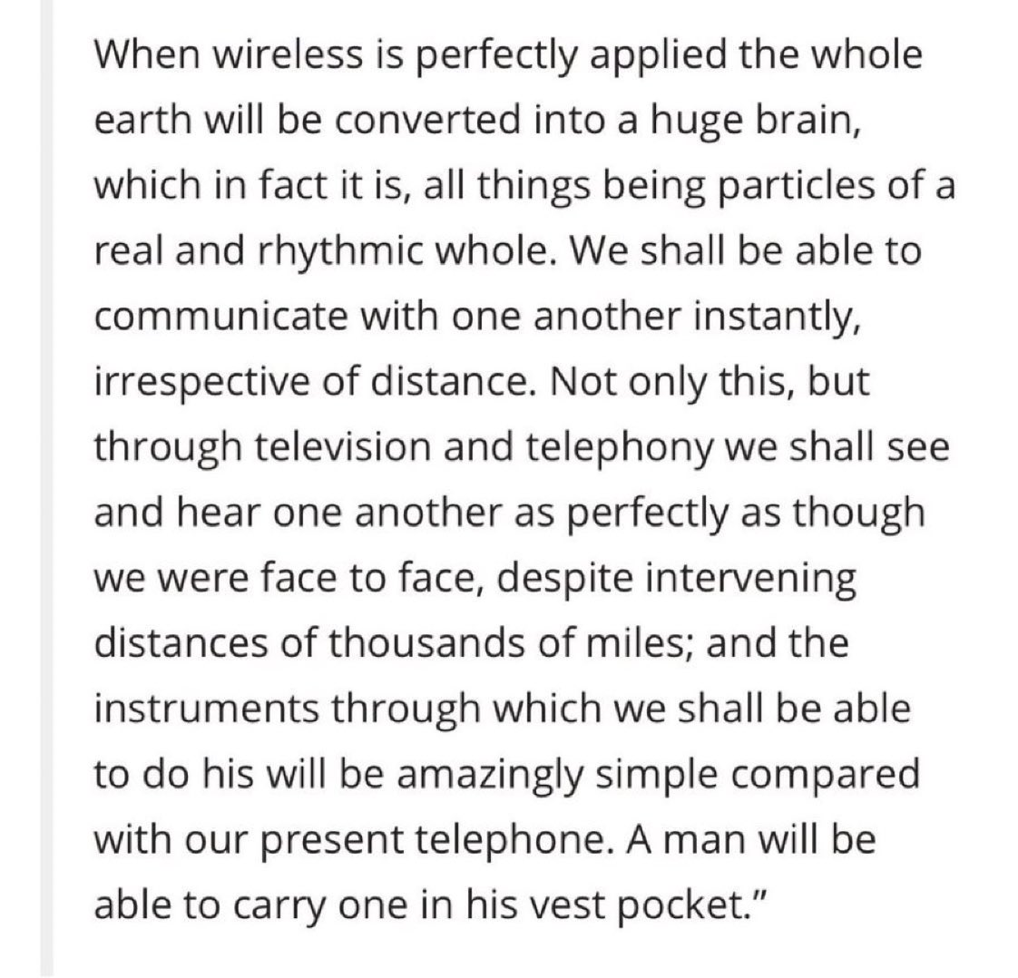 """Nikola Tesla describes the modern-day smartphone, a communication device so """"simple"""" that we will be able to carry it in our """"vest pocket,"""" back in a 1926 interview with Collier's magazine."""