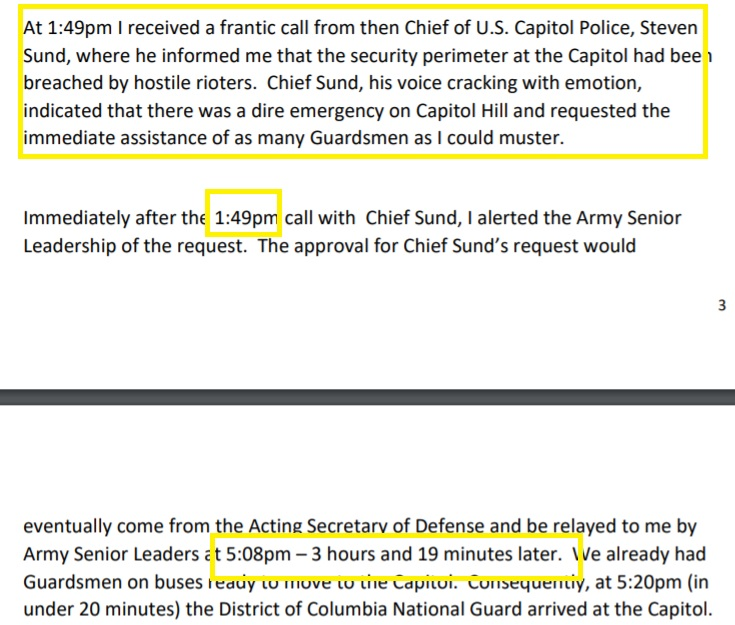 """!!! 3 hour, 19 minute delay in dispatching the DC Guard on January 6th.    Despite urgent call for help from US Capitol Police chief """"his voice cracking with emotion"""" https://t.co/w1BRywFsof"""