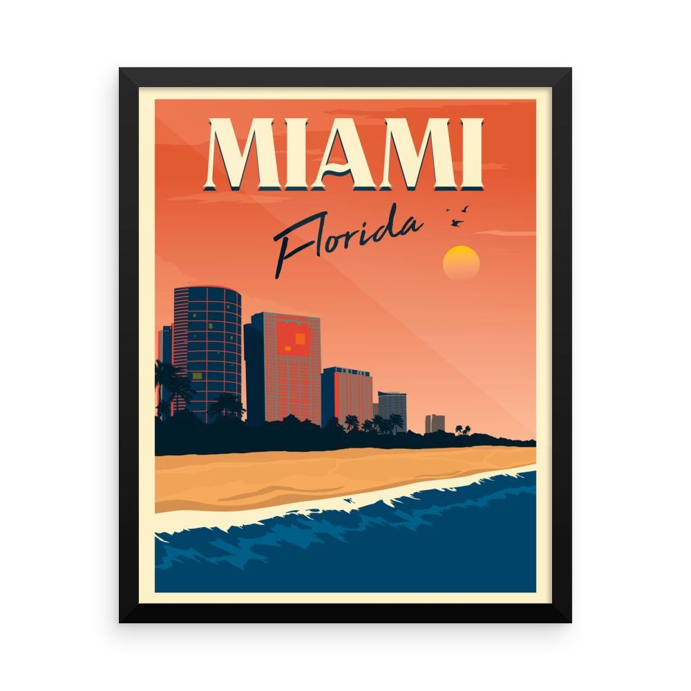 Retweet and Follow to enter our monthly #vintage #travel #poster #giveaway  #Miami Florida | Vintage Travel Poster | Framed Print      #etsy #vacation