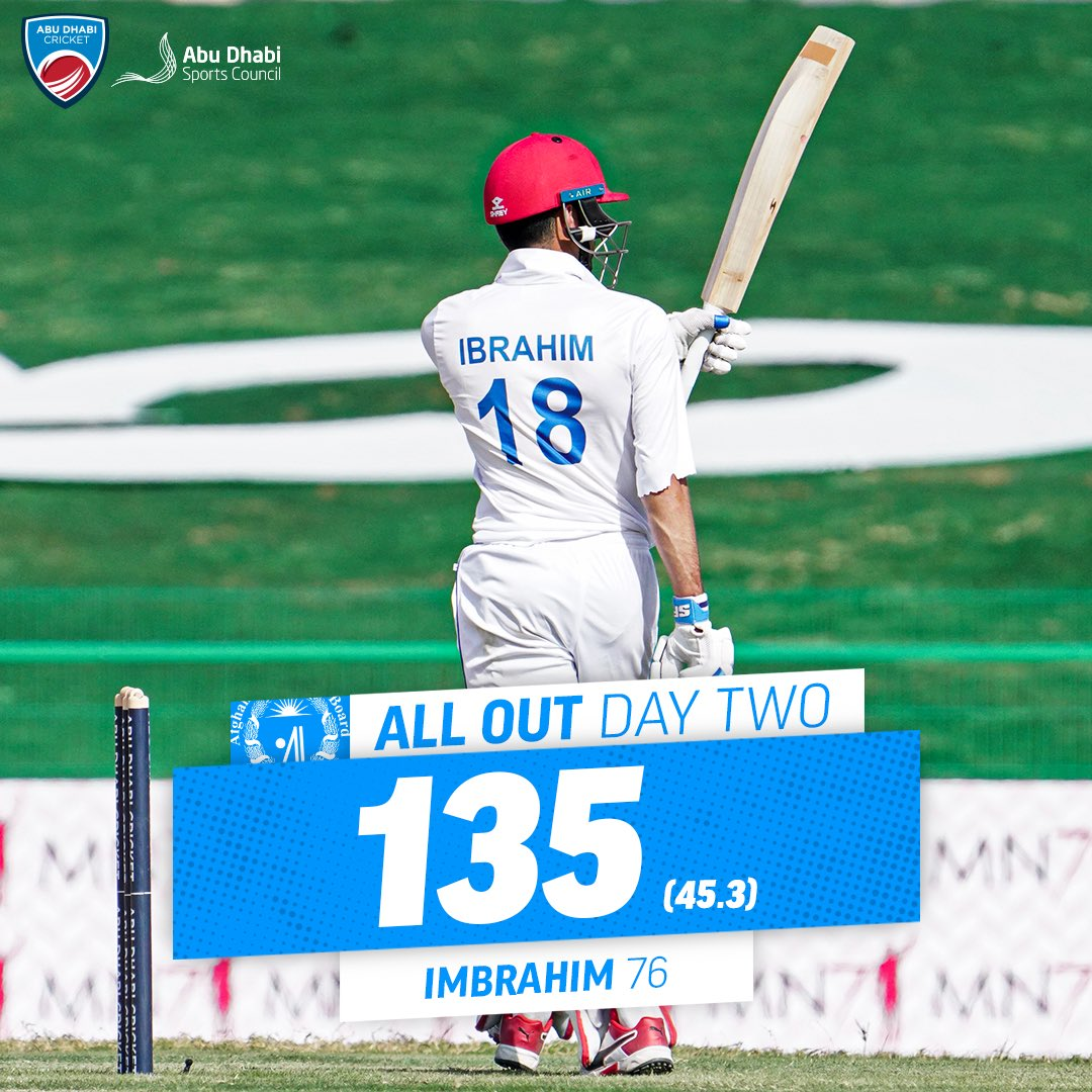 All out! 💥  @ACBofficials have scored 1️⃣3️⃣5️⃣ in their second innings 🤝  @ZimCricketv just need 1️⃣7️⃣ runs for victory in the first test of the Abu Dhabi Sunshine Series ☀️  #AFGvZIM #AbuDhabiSunshineSeries #InAbuDhabi