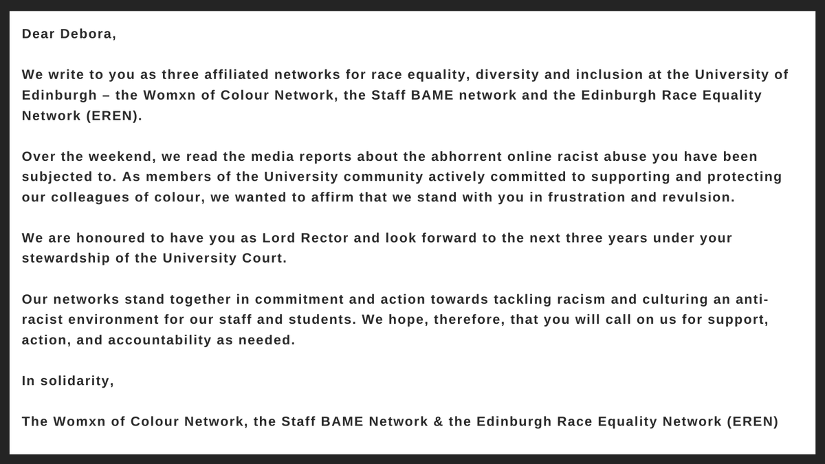The Womxn of Colour Network, @UoEBAME, & @UoEREN would like to share this statement of support and solidarity for our Lord Rector, @DKAYEMBE, following the abhorrent online racist abuse recently reported in the media. We are honoured to have Debora as Lord Rector @EdinburghUni.