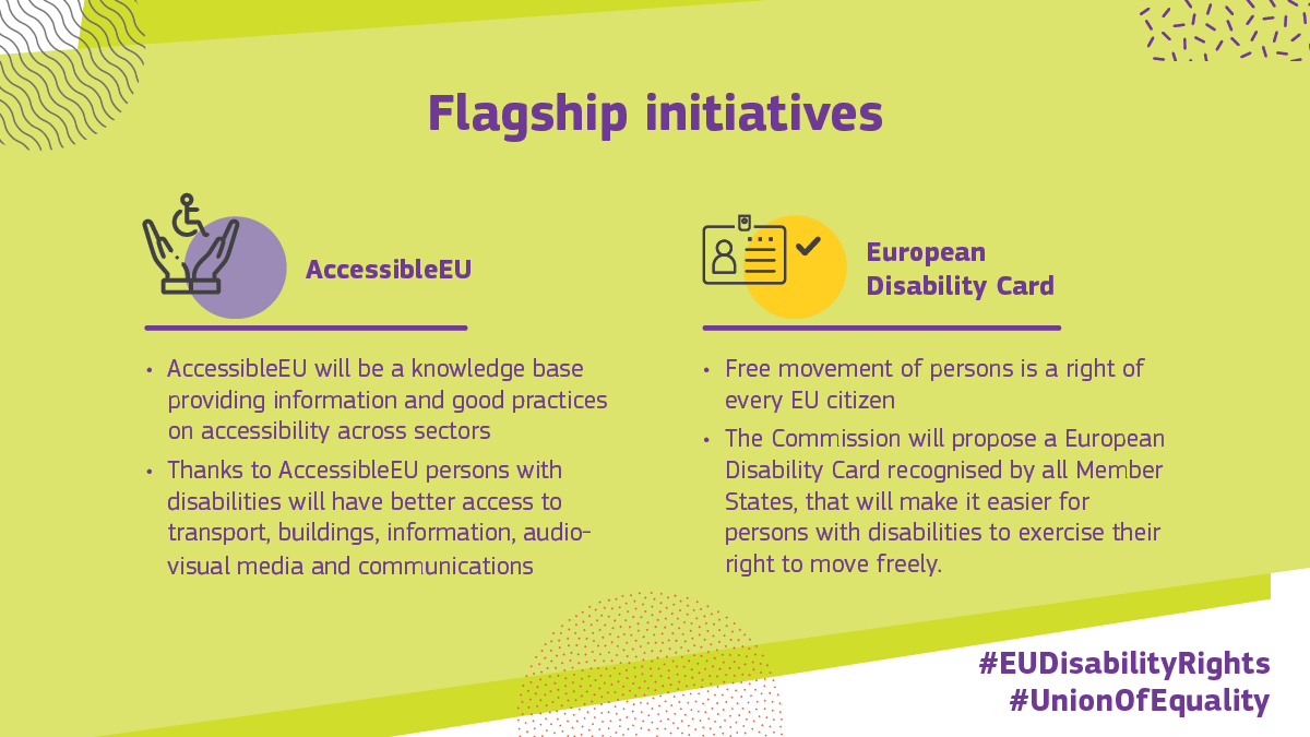 Some of the flagship initiatives of the new #EUDisabilityRights strategy:  In 2⃣0⃣2⃣2⃣: AccessibleEU resource centre to gather information and good practices on accessibility By the end of 2⃣0⃣2⃣3⃣: Proposal on the European Disability Card for all EU countries  #UnionOfEquality https://t.co/GLiP1ReFlo