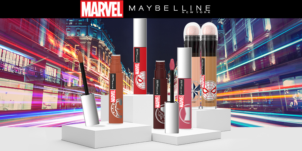 Swipe on your superpower with Maybelline X Marvel limited edition make-up range. Hurry, only available while stocks last 🦸 ->  #Zando #Beauty #Marvel