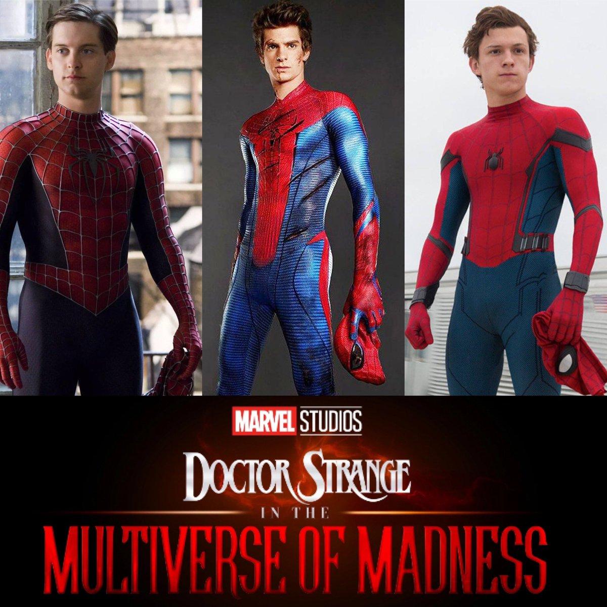 D'après #KevinFeige, #SpiderManNoWayHome sera connecté à #DoctorStrangeInTheMultiverseOfMadness.  Et si finalement #TobeyMaguire, #AndrewGarfiled et #TomHolland apparaissaient en #Spidey dans #DoctorStrange2 !  Vous avez 3h, une feuille double à carreaux minimum !  #Marvel #MCU