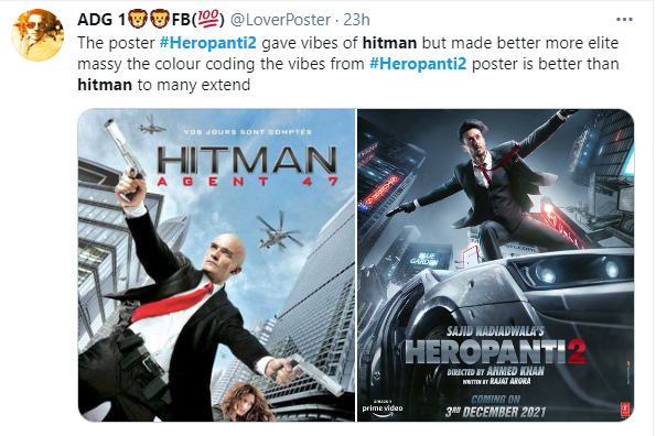 #Bollywood | Fans have spotted similarities between #TigerShroff's character in #SajidNadiadwala's #Heropanti2, and Agent 47 (#Hitman) and John Wick.  A new poster for the film debuted on Tuesday.  @ajdesigns0220 @aamirone8