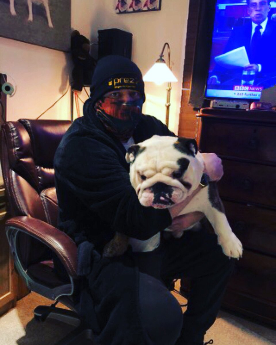 In the crib with my dad 💖 he is wearing @PresleyLewis17 merchandise check it out , happy Wednesday my friends have a wonderful day 💖  😊💖🤩🕺#follow  #ZSHQ #puppy #Zombiebullz #WeTheNorth  #pedegree  #HereWeGo   #NYYankees #Ruffriderz #puppybulldog  #TJ5