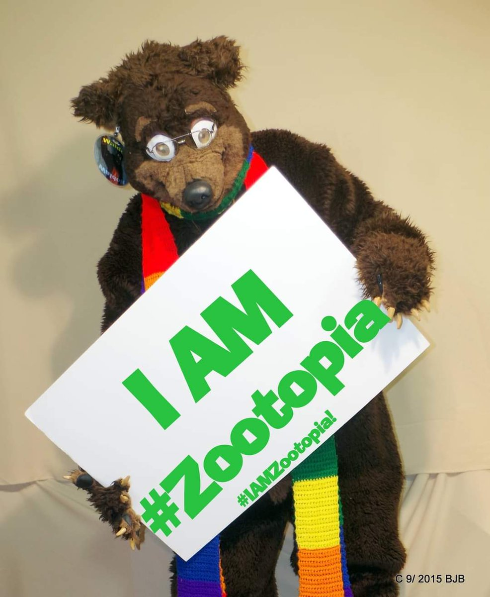 In 2016 people were encouraged to post a picture like this for the premiere of Zootopia here it is again  #FursuitFriday With the 1 year anniversary coming up, Here is Waldolf reminding everyone #IAMZootopia #Zootopia #fursuit #fursuiter #fursuiting #bear #costume