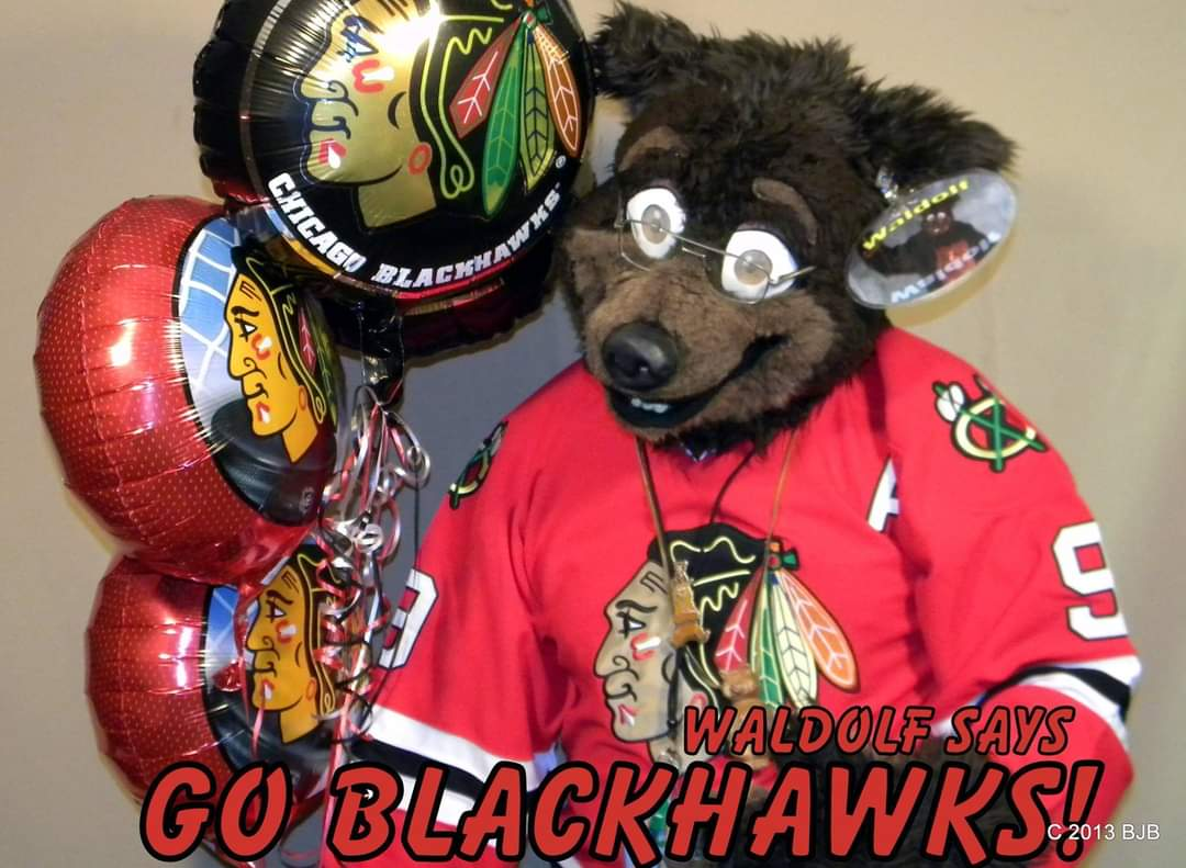 #fursuitfriday Waldolf cheering on his favorite #hockey  team, the #Chicago #Blackhawks #balloon #fursuit #fursuiter #fursuiting #bear #costume