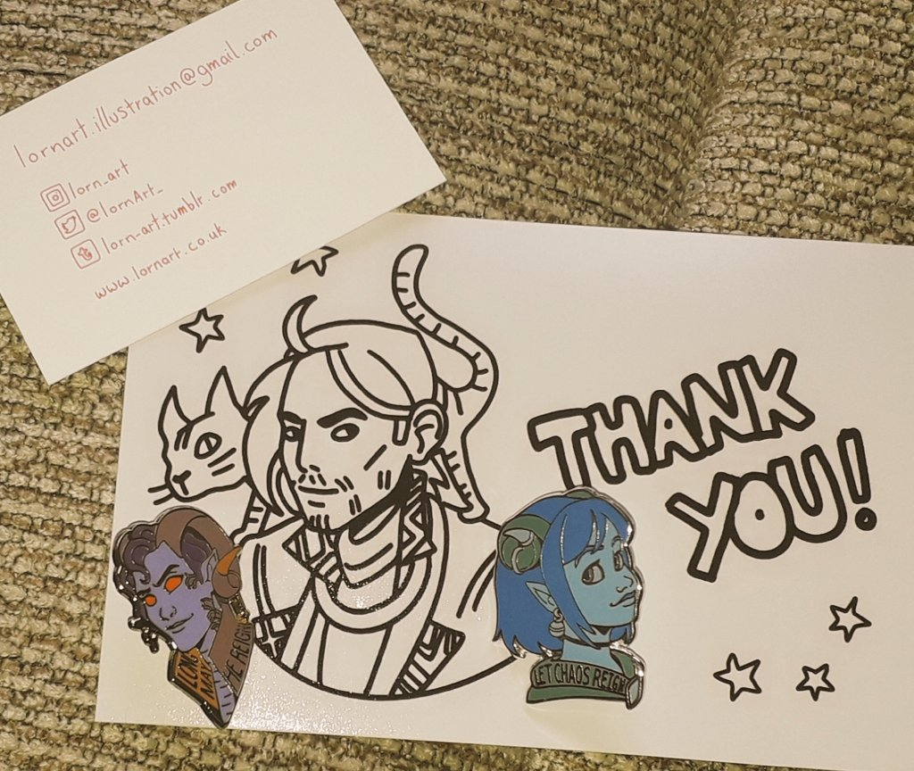 My Molly and Jester pins have arrived with a Caleb thank you card X3  Thank you so much @LornArt_   Follow back to check out their amazing art :D #CriticalRole