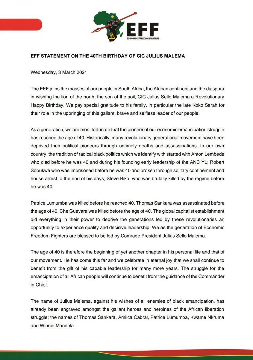EFF Statement On The 40th Birthday Of CIC @Julius_S_Malema https://t.co/tu4b2adf2l