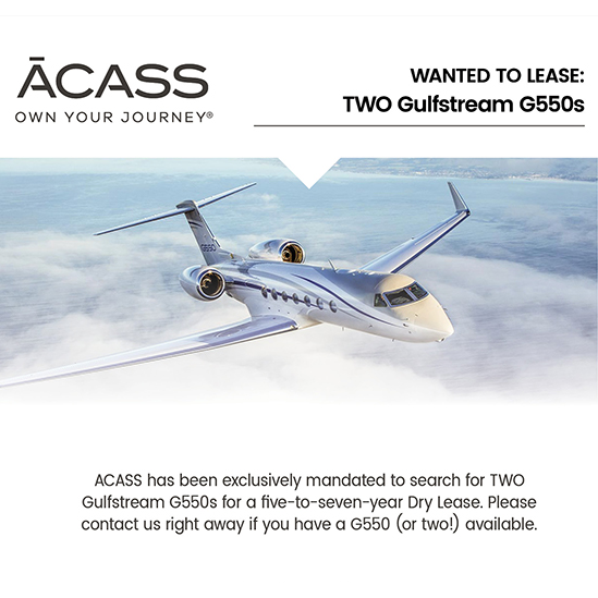 #aircraftwanted to lease - two (2) #Gulfstream #G550s at @ACASSCANADA for a five-to-seven year Dry Lease. Contact them at: https://t.co/yZGs8zT2v1  #bizjet #bizav #aircraftforsale #privatejet #privateflying #jetforsale #businessaviation