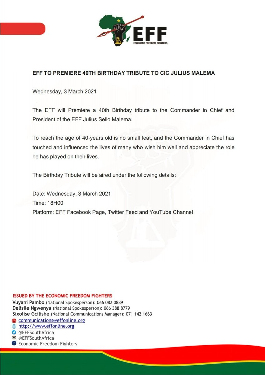 EFF To Premiere 40th Birthday Tribute To CIC @Julius_S_Malema https://t.co/hmQKcYyXMu