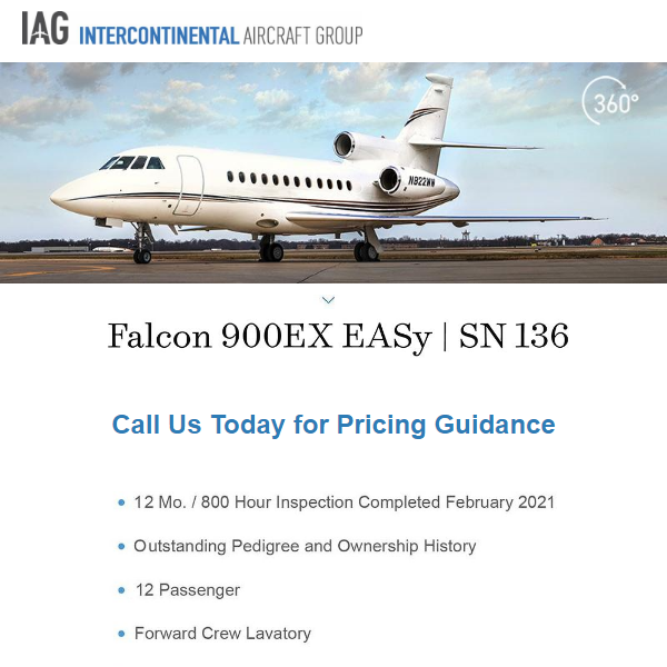 #Falcon #900EX #EASy available at @iagjets    12 Mo. / 800 hours inspection completed Feb 2021 Outstanding pedigree and ownership history More details at: https://t.co/4kHyRMpzna  #bizjet #aircraftforsale #privatejet #privateflying #jetforsale #businessaviation
