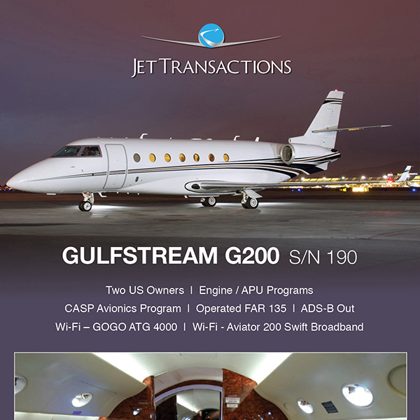 #Gulfstream #G200 available at JetTransactions Operated FAR 135 ADS-B Out More details at: https://t.co/1r3T3DccHN  #bizjet #bizav #aircraftforsale #privatejet #privateflying #jetforsale #businessaviation