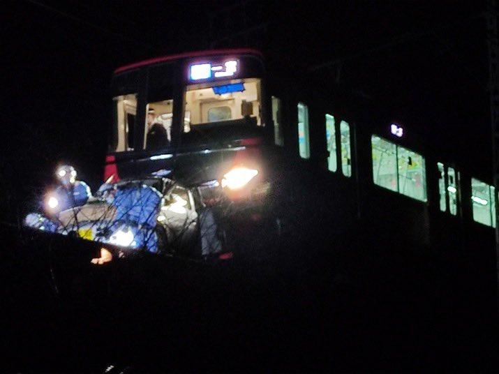 名鉄名古屋本線の踏切事故の現場の画像