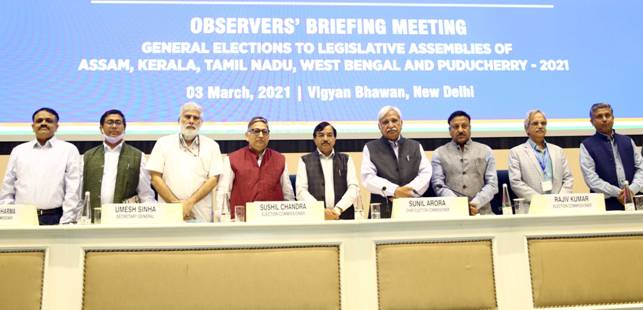 .@ECISVEEP organizes briefing meeting of General, Police and Expenditure Observers for the #AssemblyElections in Assam, Kerala, Puducherry, Tamil Nadu and West Bengal.  Read more: