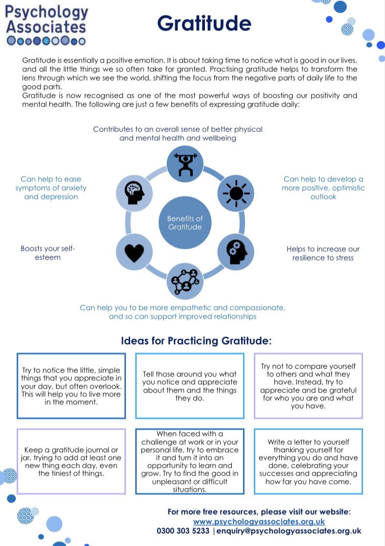 Our resource theme for March is #Wellbeing, and today we are sharing our #Gratitude Resource. It highlights just how powerful gratitude can be, and provides suggestions for how to practice it. #wellbeingwednesday   It can be freely downloaded here: