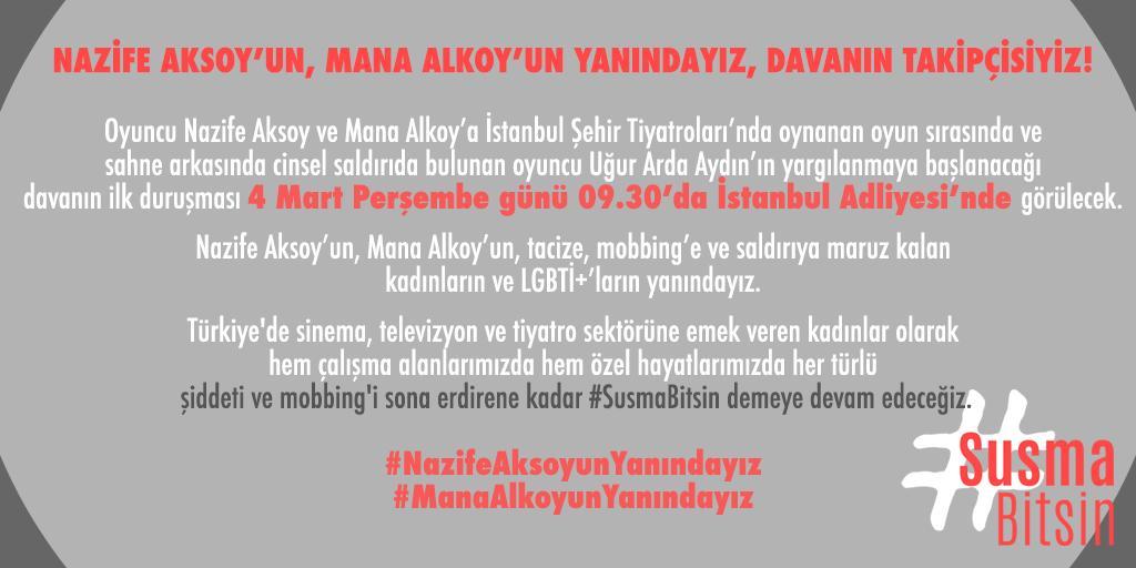 """Susma Bitsin on Twitter: """"Nazife Aksoy'un, Mana Alkoy'un, tacize, mobbing'e  ve saldırıya maruz kalan kadınların ve LGBTİ+'ların yanındayız.  #NazifeAksoyunYanındayız #ManaAlkoyunYanındayız #SusmaBitsin…  https://t.co/iHf7cdaxy9"""""""