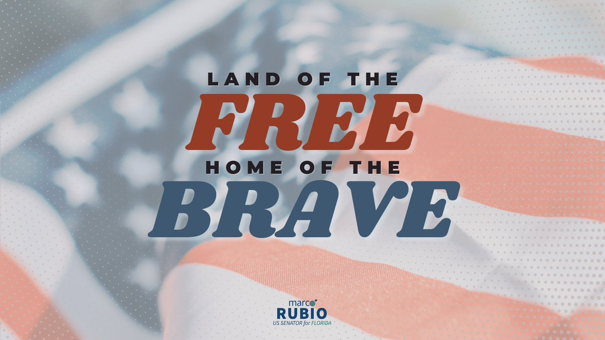 90 years ago, the #StarSpangledBanner was chosen as the United States' National Anthem.  Today and every day, Senator Rubio proudly honors our flag and the powerful American values which it represents. #NationalAnthemDay