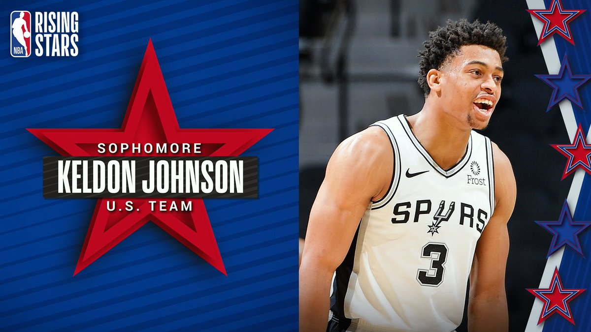 Earning his 1st Rising Stars selection for the U.S. Team... Keldon Johnson of the @spurs! Keldon was drafted as the 29th overall pick in the 2019 NBA Draft out of Kentucky.