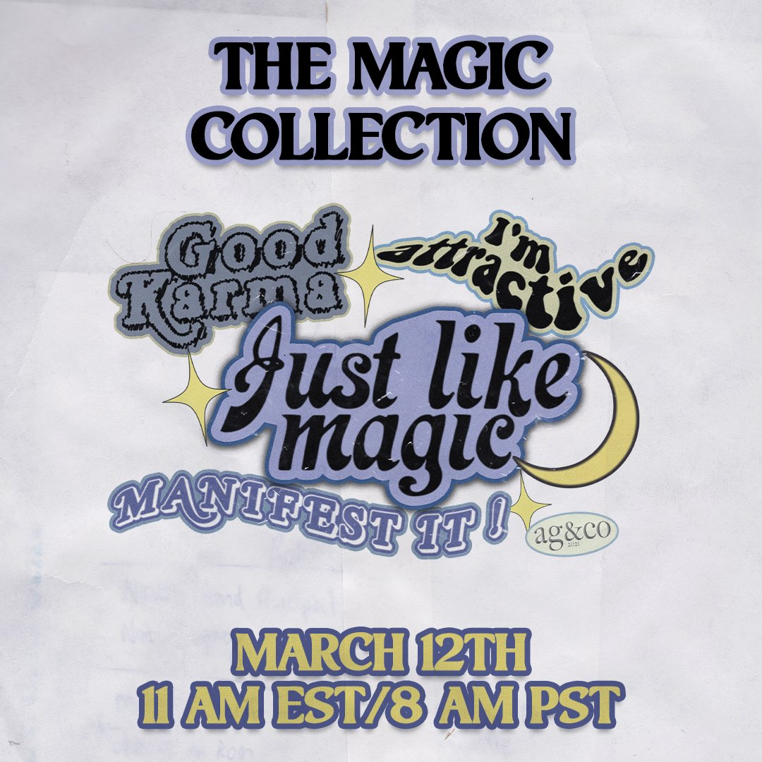 THE MAGIC COLLECTION launching next Friday March 12th at 11am EST/8 am PST on ! We are so excited to show these amazing products off very soon! #justlikemagic #positions #arianagrandemerch #merch #ariana #positionsdeluxe