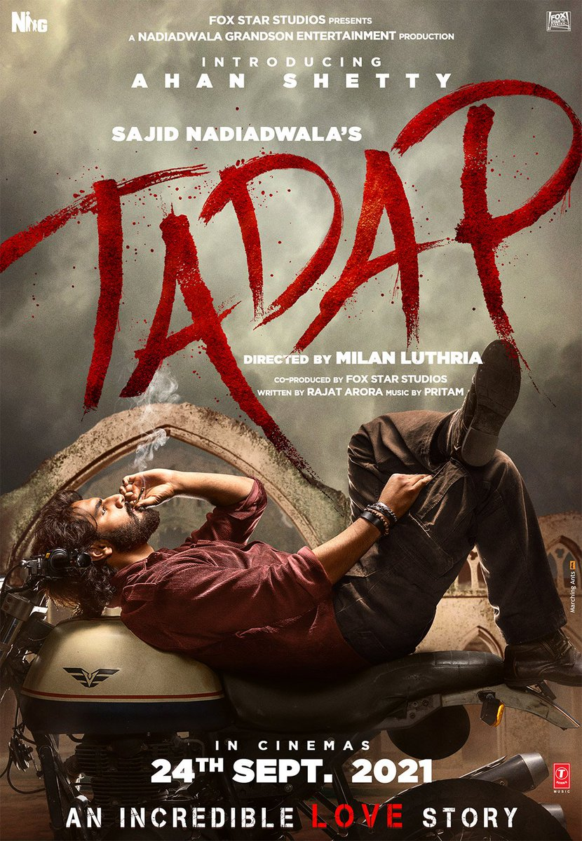 AHAN SHETTY FIRST LOOK OF TADAP... #SajidNadiadwala's introducing #AhanShetty son of #SunielShetty... And costars, #TaraSutaria - to release on 24 September 2021... Directed by Milan Luthria.