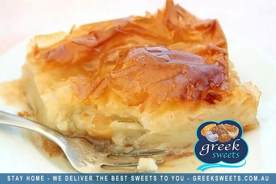 Traditional Greek sweets and more delivered in Sydney, FREE shipping. Get Galaktoboureko delivered at home or work.    #galaktoboureko #sweet #dessert #dessertlovers #dessertblogger #greeksweets #friends #family #tellafriend #sydneyfood #sydney #stayhome