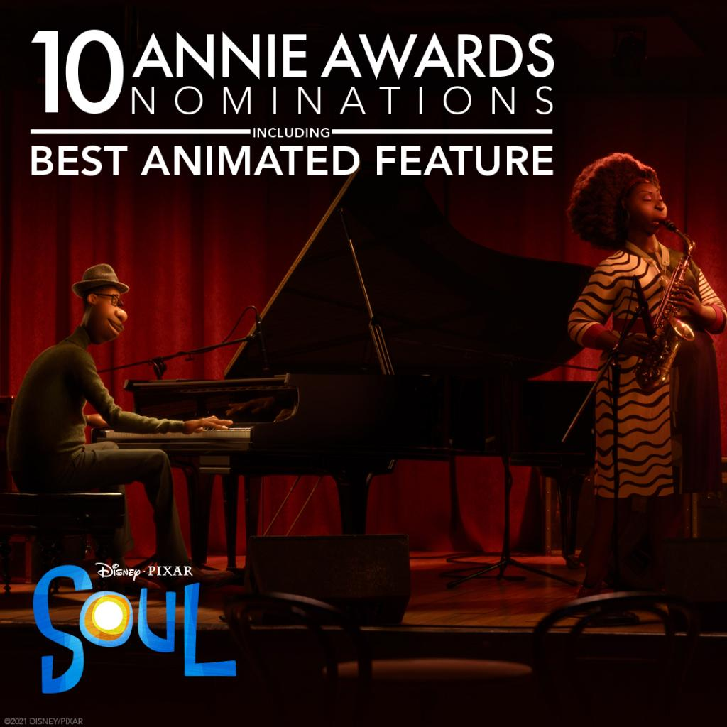 Congratulations to #PixarSoul for its 10 #AnnieAwards nominations, including Best Feature!