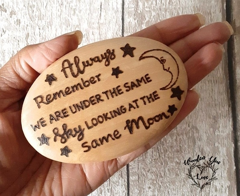 This moon inspired hand burnt wooden pebble, is lovely to send someone you are missing ❤    #MHHSBD #handmadehour #firsttmaster #mondaythoughts